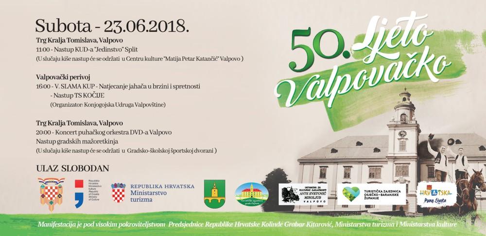 Subota – 23. 06. 2018. Ljeto valpovačko – najava događaja
