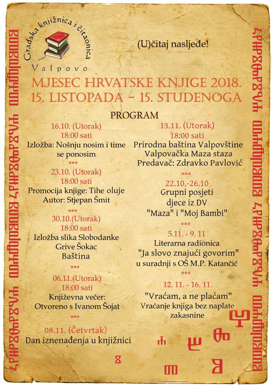 Mjesec hrvatske knjige u Gradskoj knjižnici i čitaonici Valpovo