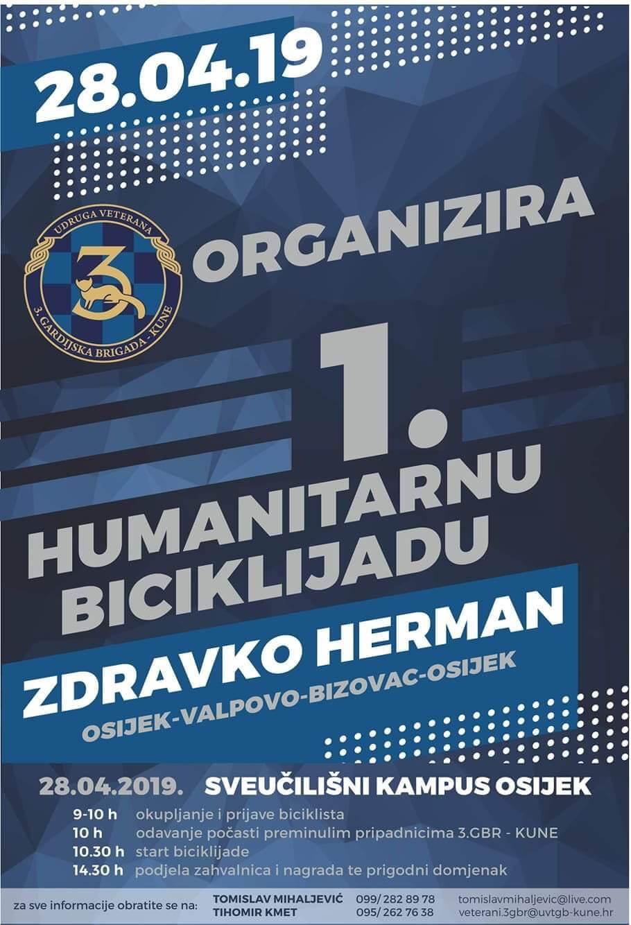 """1. HUMANITARNA BICIKLIJADA """"ZDRAVKO HERMAN"""" PROLAZI KROZ VALPOVO"""