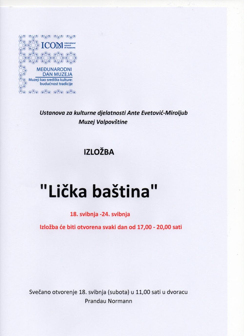 """Izložba """"Lička baština"""" 18. – 24. svibnja 2019. g. – 17:00-20:00 sati u Muzeju Valpovštine"""