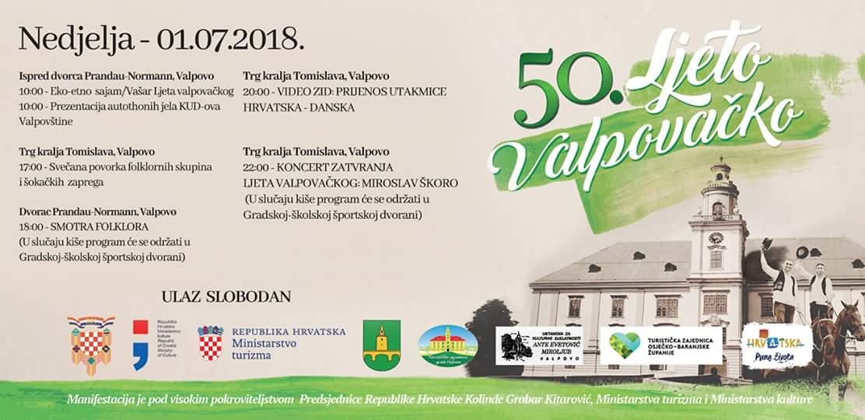 Nedjelja, 1. 7. 2018. – 50. Ljeto valpovačko – najava događaja