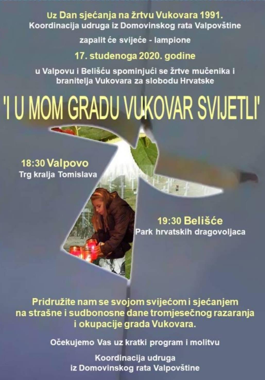 Uz Dan sjećanja na žrtvu Vukovara 1991. Koordinacija udruga iz Domovinskog rata Valpovštine zapalit će svijeće – lampione 17. studenoga 2020. godine